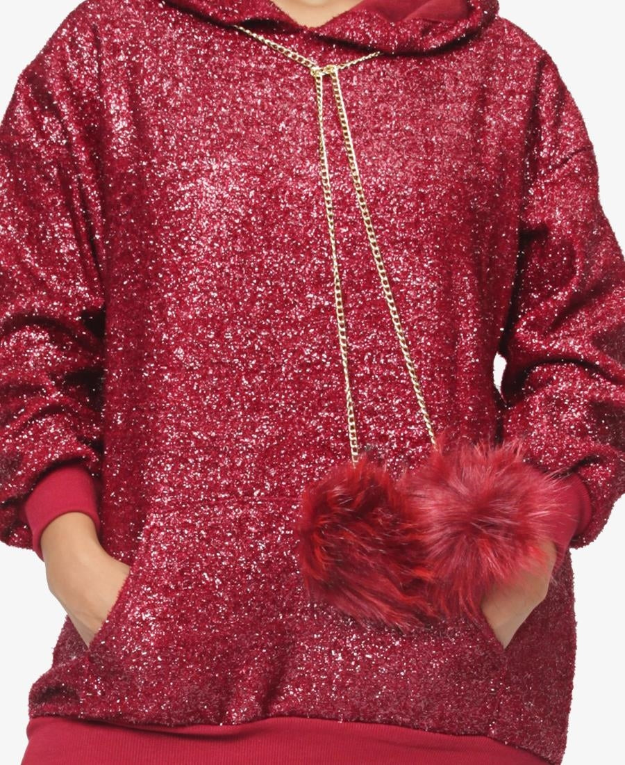 Glitter Hoodie - Red