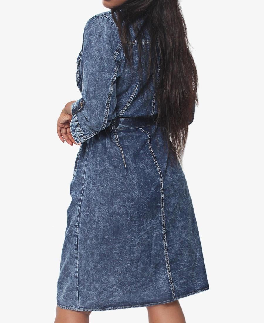 Denim Belted Dress - Blue