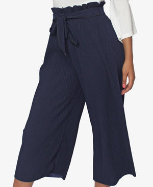 Cropped Pin Stripe Pants - Navy