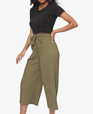 Cropped Pin Stripe Pants - Olive