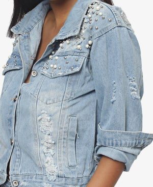Ripped Denim Jacket With Pearl Detail - Blue