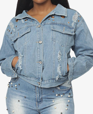 Ripped Denim Jacket With Eyelets - Blue