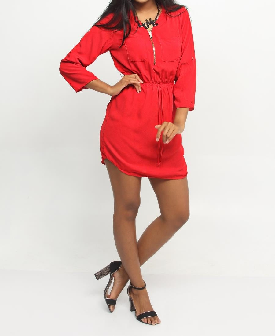 Shirt Dress - Red