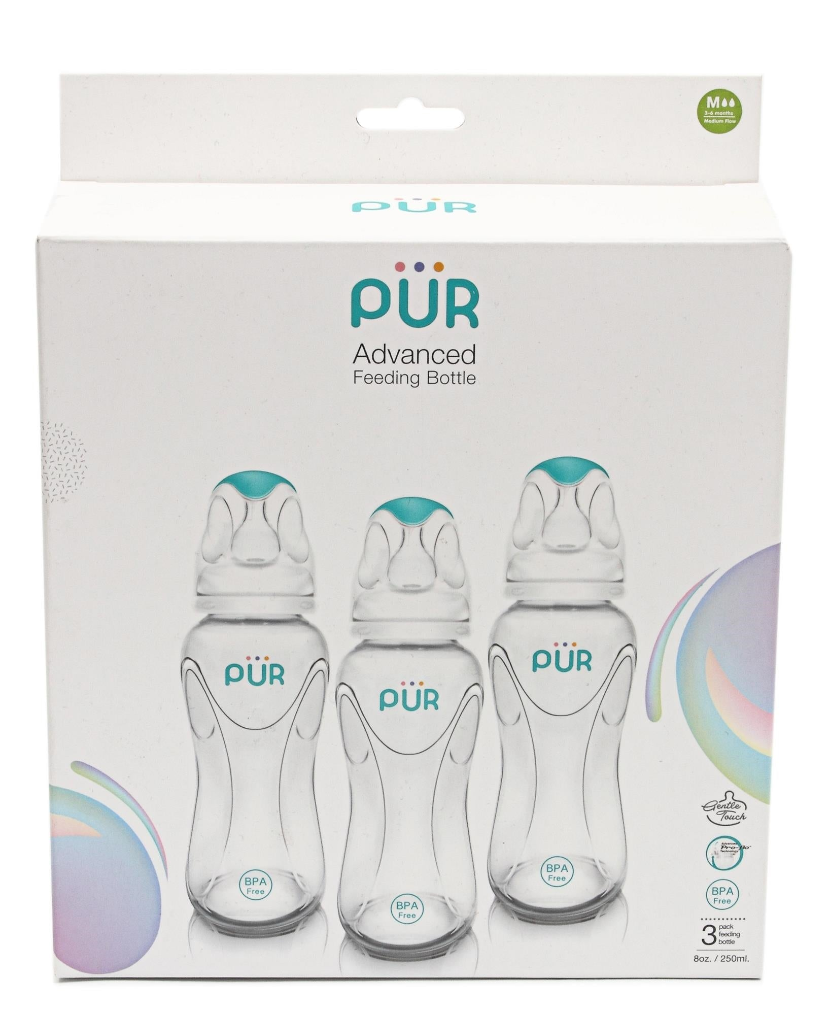 3 Pack Medium Flow Feeding Bottles - White