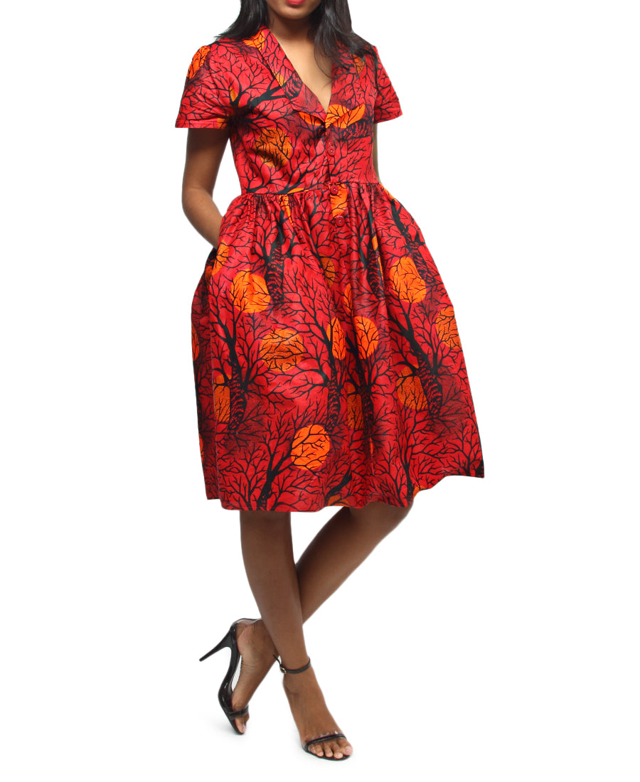 Ethnic Short Dress - Red