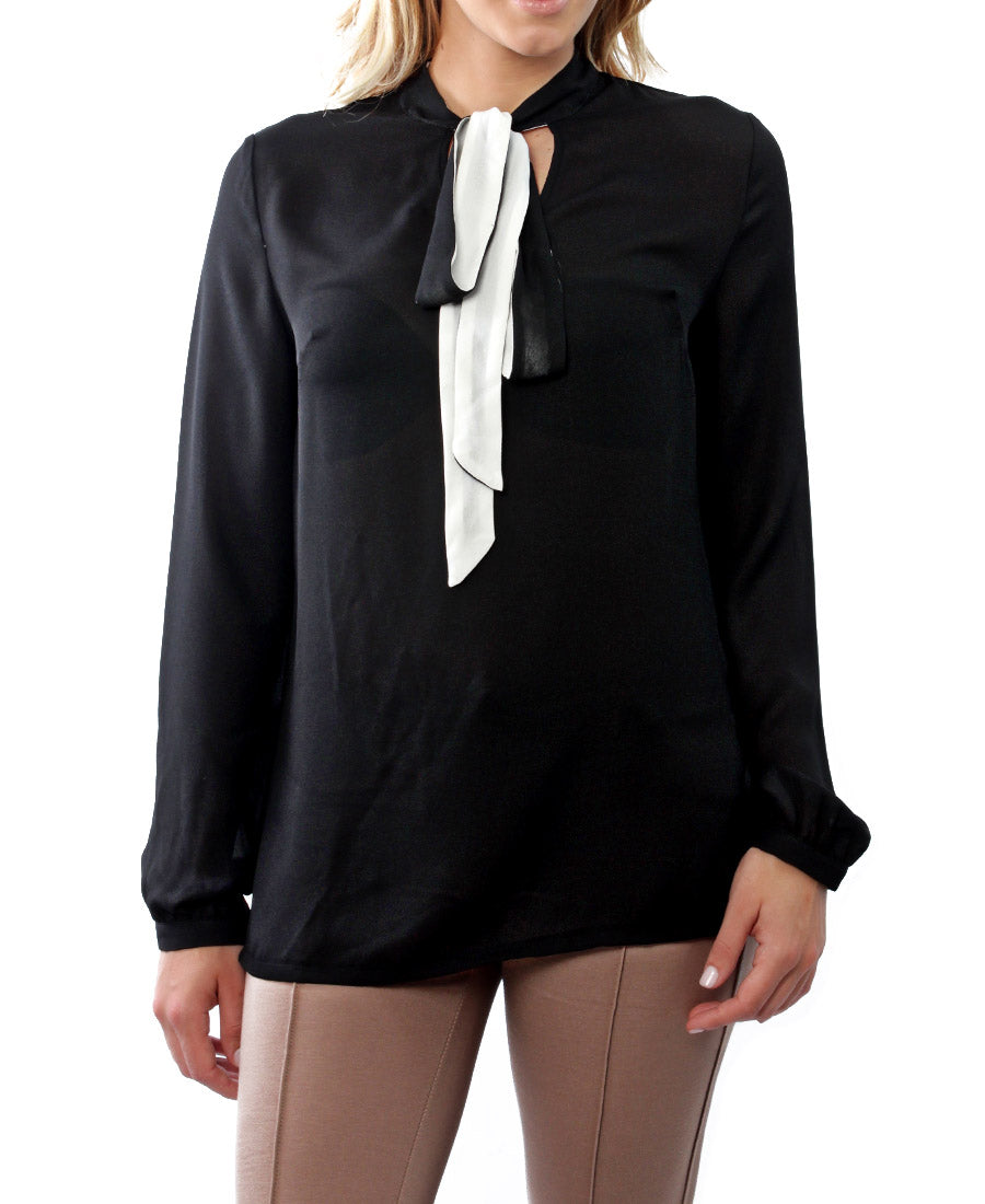 Necktie Blouse - Black