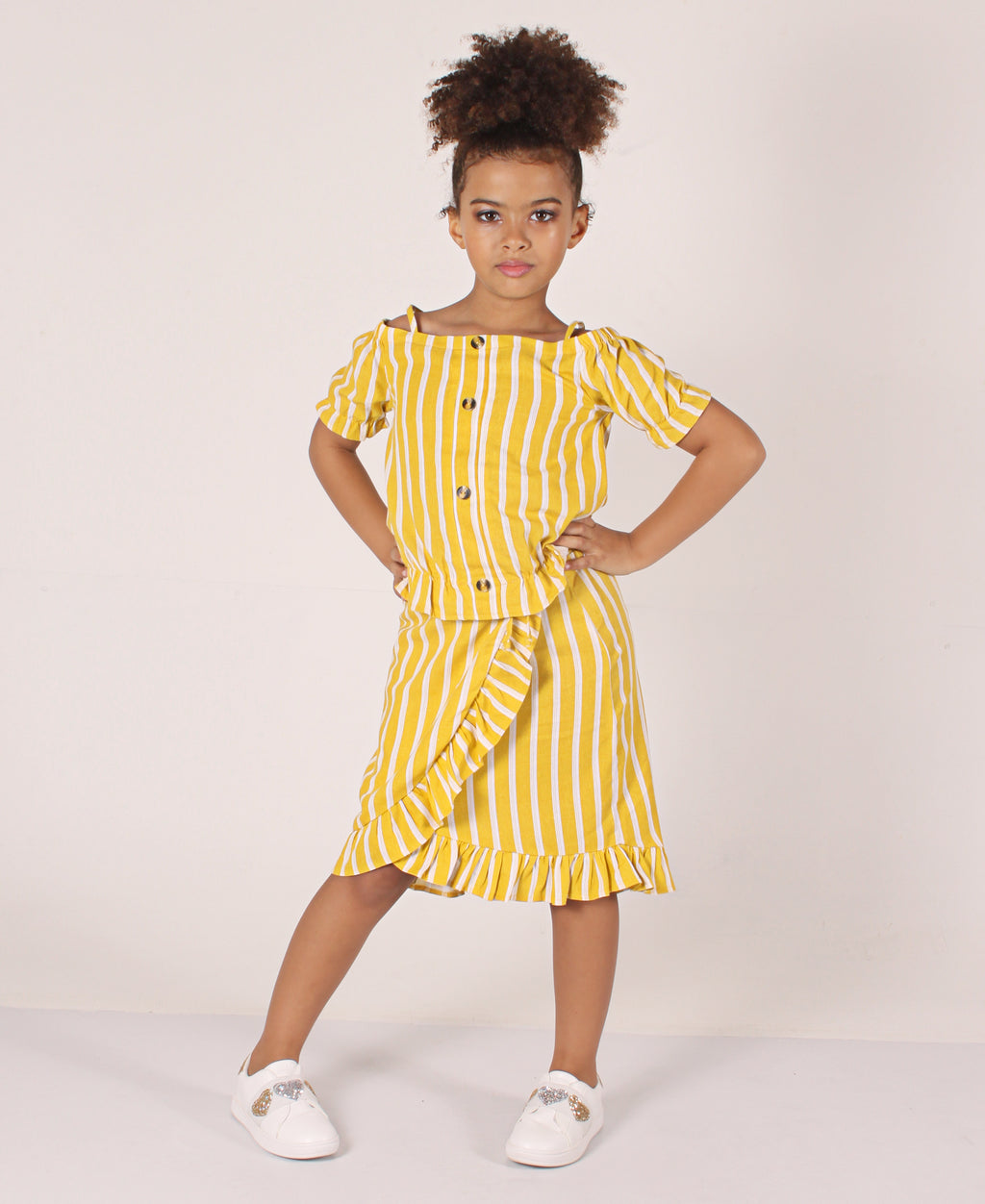 Girls Striped Cold Shoulder Two Piece Set - Mustard