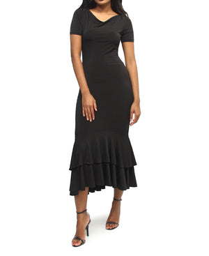 Double Ruffle Dress - Black