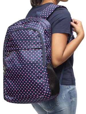Polka Dot Backpack - Navy