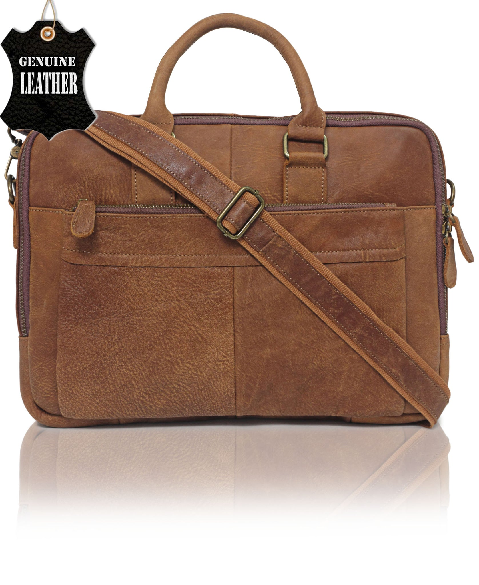 Genuine Leather Laptop Bag - Tan
