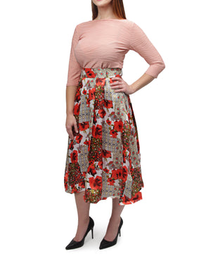 Floral Skirt - Red