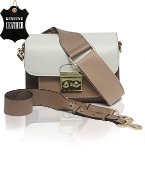 Genuine Leather Crossbody Bag - Taupe