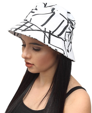 Bucket Hat - White-Black