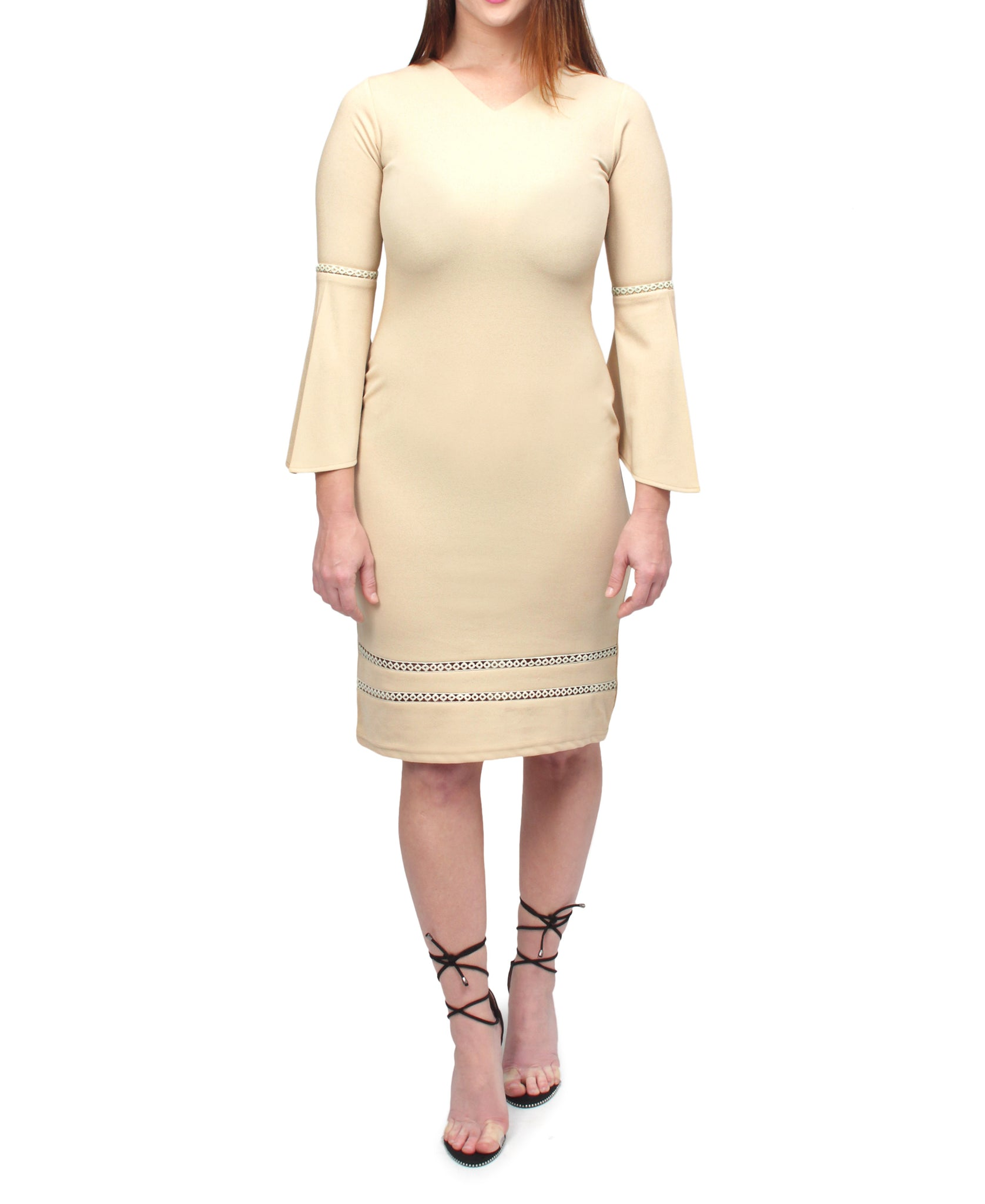 Bell Sleeve Dress - Beige