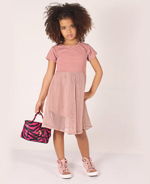 Girls Mesh Dress - Mink
