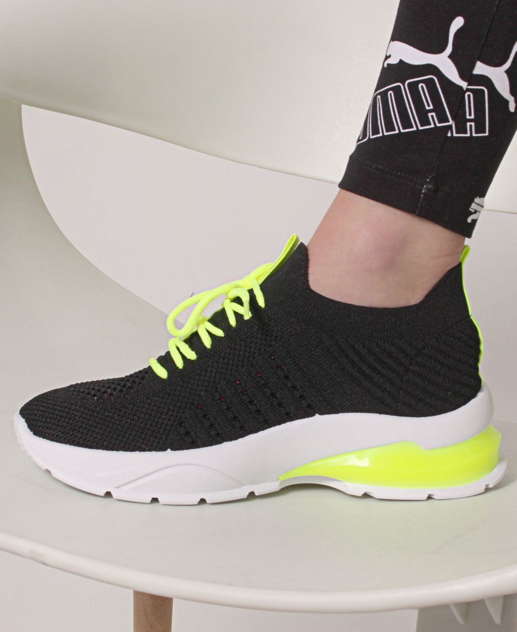 Ladies' Neon Lightweight Sneakers - Black-Yellow