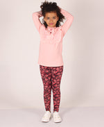 Kids Cotton Knit Leggings - Red
