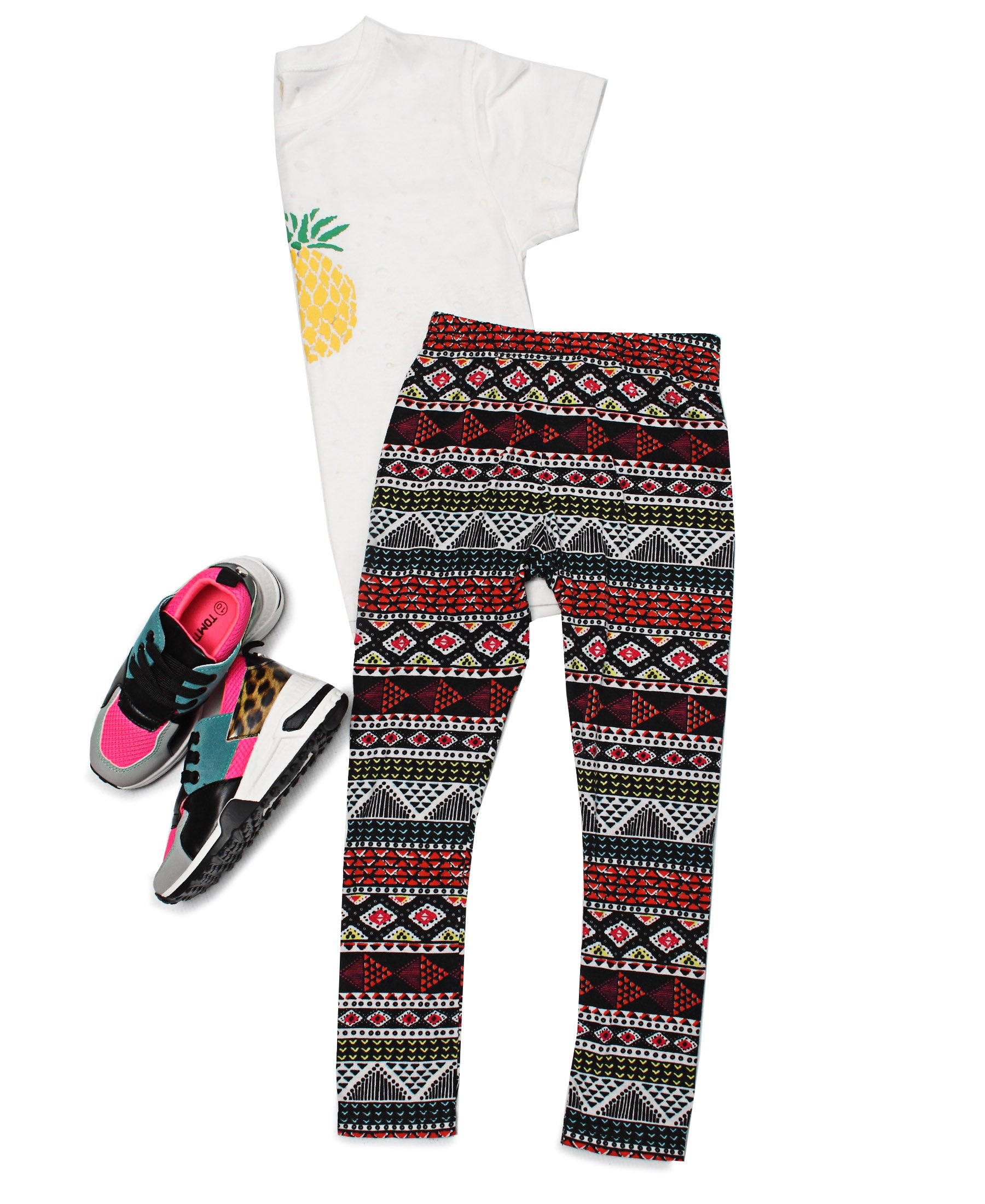 Kids Cotton Knit Leggings - Multi