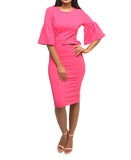 Bell Sleeve Dress - Pink