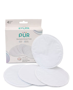 4 Pack Reusable Cotton Breast Pads - White
