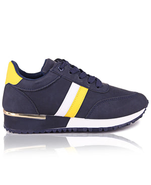 Ladies' Balance Stripe Sneakers - Navy