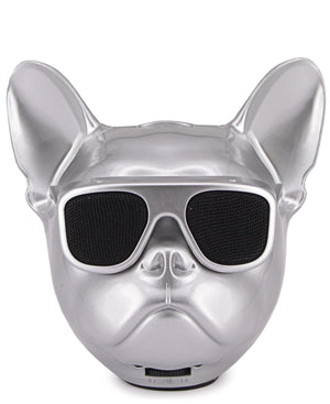 Mini Dog Head Bluetooth Speaker - Silver