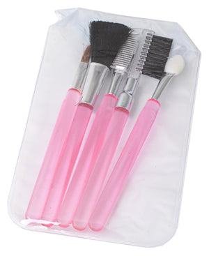 5 Piece Make Up Brushes - Pink