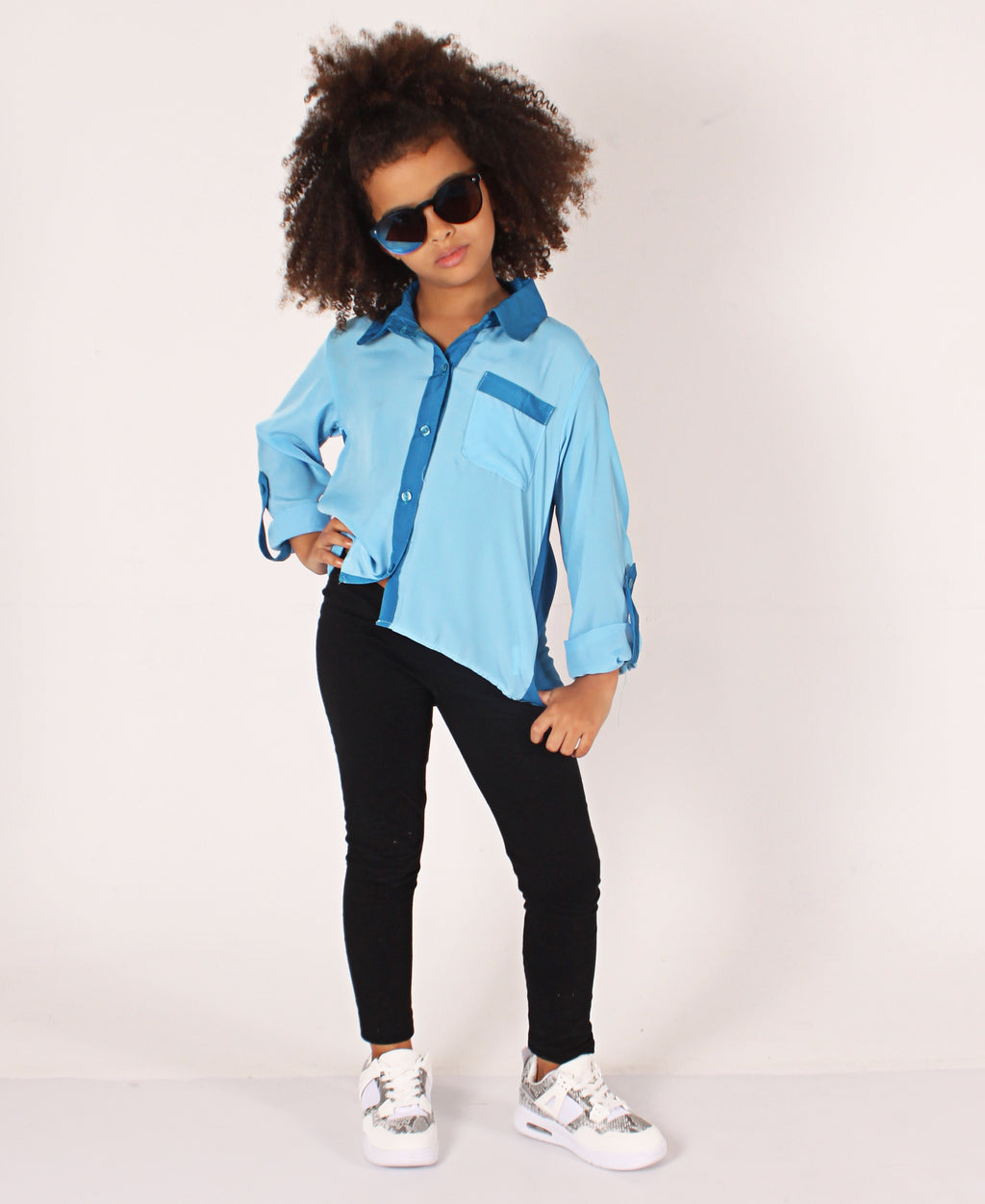 Girls Long Sleeve Shirt - Blue