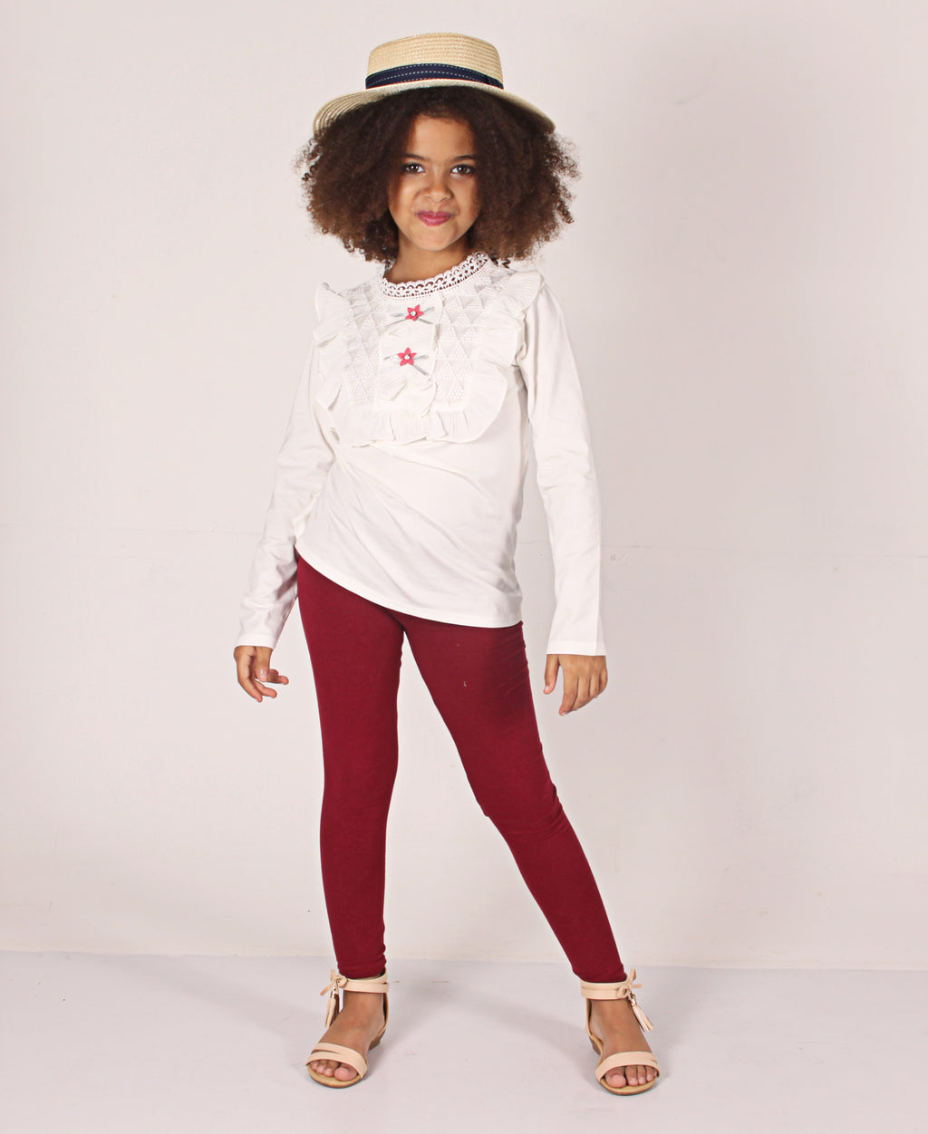 Girls Plain Leggings - Burgundy
