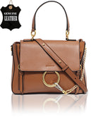 Genuine Leather Satchel Bag - Tan