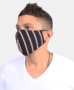Stripe Design Comfy Cloth Face Mask - Black