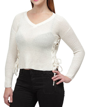 Loose Knit Sweater - White