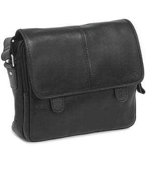 Genuine Leather Satchel Bag - Black