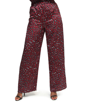 Satin High Waist Pants - Burgundy