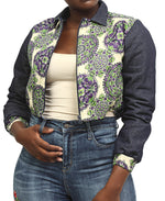 Ethnic And Denim Bomber Jacket - Green