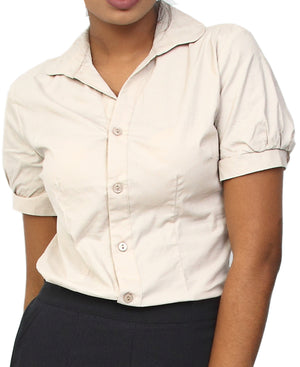 Short Sleeve Formal Shirt - Beige