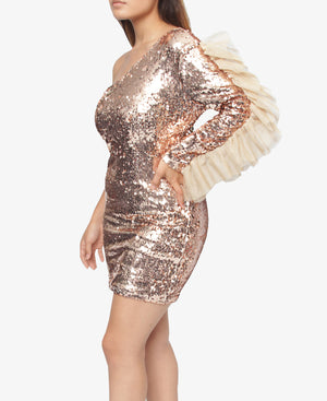 One Arm Sequins Dress - Gold