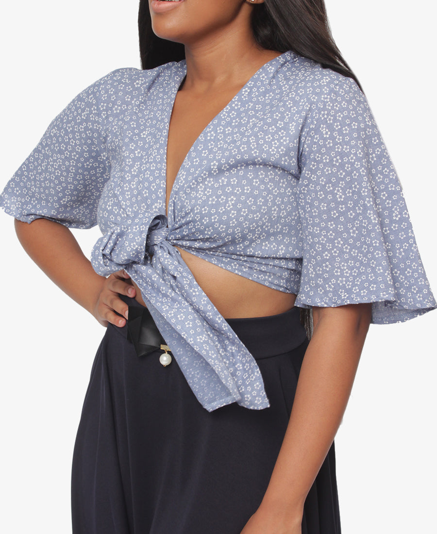 Crossover Blouse - Blue