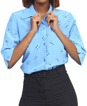 3/4 Sleeve Blouse - Blue
