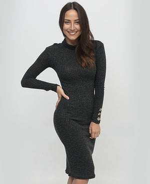Rib Bodycon Dress - Black