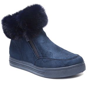 Girls Fluff Sneakers - Navy