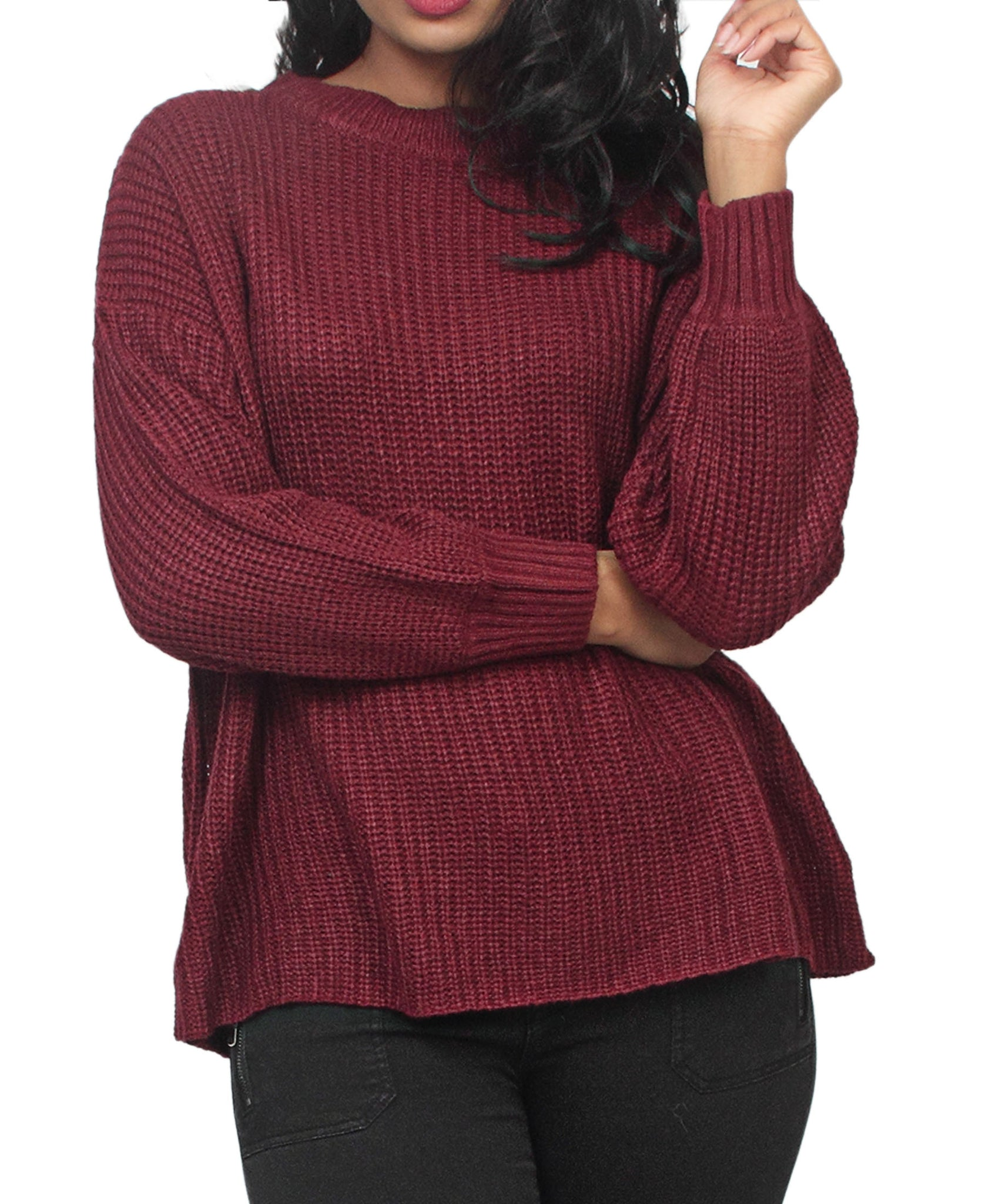 Loose Knit Sweater - Burgundy