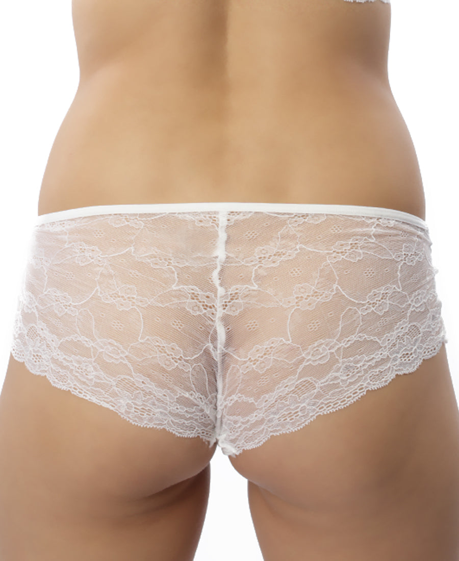 Lace Back Boyleg - White