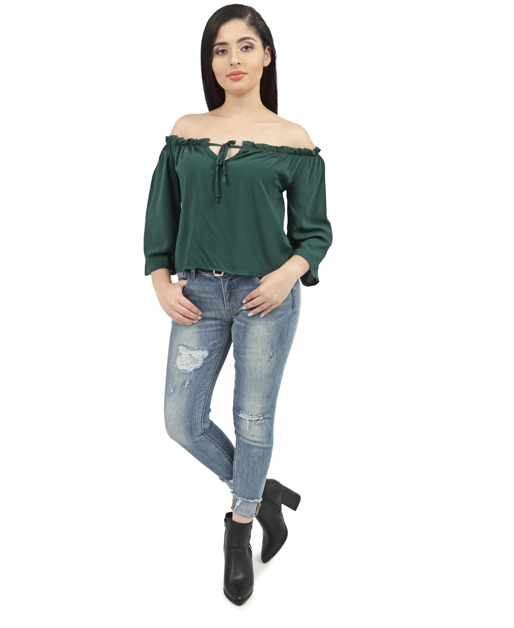 Off Shoulder Top - Green