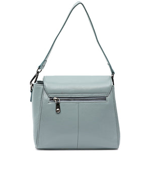 Genuine Leather Crossbody Bag - Blue