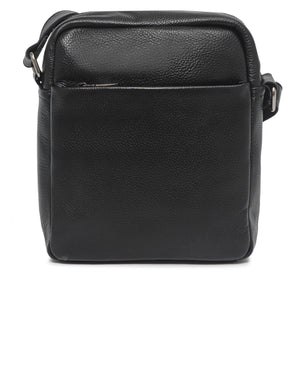 Genuine Leather Messenger Bag - Black