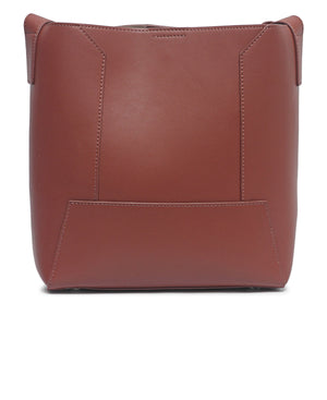 Genuine Leather Shopper Bag - Brown