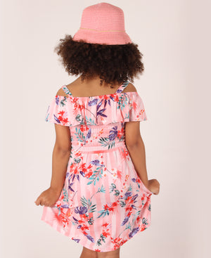 Girls Floral Elasticated Waist Dress - Peach
