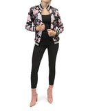 Floral Bomber Jacket - Black