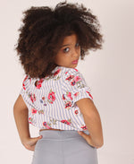 Girls Floral Tie Front Top - White
